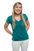 Long haired blonde teen girl in casuals — Stock Photo