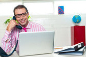 Boss on a business call clinches the deal — Stock Photo