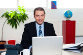Corporate leader sitting in front of his laptop — Stockfoto