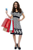 Picture of lovely woman with shopping bags and credit card — Stock Photo