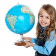 Pretty school child holding globe  — Stock Photo