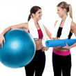 Two friends communicating after workout — Stock Photo