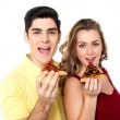 Couple posing with pizza slice, about to eat — Stock Photo
