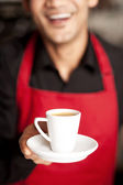 Freshly brewed coffee served with a smile — Stock Photo