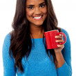 You woman enjoying her morning coffee — Stock Photo