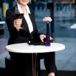 Gorgeous corporate woman enjoying red wine — Stock Photo