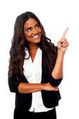 Female representative pointing away — Stock Photo