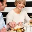 Couple enjoying vegetarian and healthy breakfast — Stock Photo