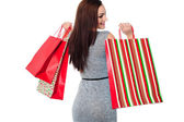 Portrait of a fashionable shopaholic woman — Stock Photo