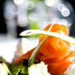 Closeup of smoked salmon salad — Stock Photo #25105491