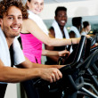 At  gym working out happily — Stock Photo
