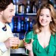 Let's celebrate. Young couple - man and woman — Stock Photo