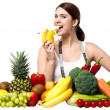 Healthy caucasian girl eating banana — ストック写真