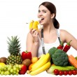 Healthy caucasian girl eating banana — Foto de Stock