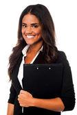 Pretty female secretary holding business files — Stock Photo