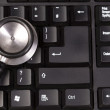 Stethoscope on keyboard, closeup shot — Stock Photo