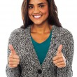 Stock Photo: Attractive girl showing double thumbs up