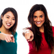 Pretty girls pointing finger towards you — Stock Photo