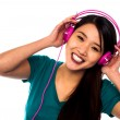 Adorable girl enjoying music — Stock Photo