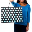 Pretty young model posing with shopping bag — Stock Photo