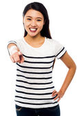 Attractive young female pointing you out — Stock Photo