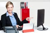 Kadın yönetici bilgisayar ekranı işaret — Stok fotoğraf