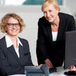 Cheerful businesswomen working in office — Stock Photo #27650219