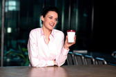 Pretty lady enjoying chilled liquid refreshment — Stock Photo