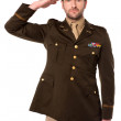 US army officer in saluting his senior — Stock Photo #29168411