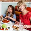 Mother and daughter enjoying meal together — Stock Photo