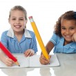 Stock Photo: Kids completing their assignment