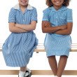 Confident elementary school girls — Stock fotografie