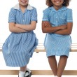 Foto Stock: Confident elementary school girls