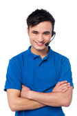Confident young customer support executive — Stock Photo