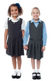 Smiling girls in school uniform — Stock Photo