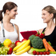 Health experts. Fresh fruits and vegetables — Stok fotoğraf