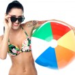 Sensual bikini woman with a beach ball — Stock Photo