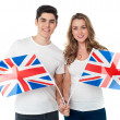 United Kingdom supporters with flags — Stock Photo