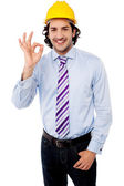 Male architect showing perfect gesture — Stock Photo
