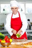 Chef preparing the dish — Stock Photo