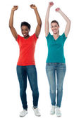 Enthusiastic pretty females — Stock Photo