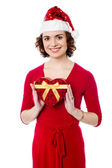 Attractive woman with xmas gift — Stockfoto