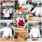Baker preparing pizza. — Stock Photo #33556859