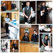 Hotel staff collage — Stock Photo