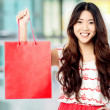 Pretty shopaholic girl with shopping bag — Stockfoto