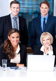Corporates with businesswomen on foreground — Stock Photo