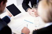Business partners discussing documents — Stock Photo