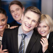 Business team of four having fun at work — Stock Photo