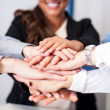 Business team stacking hands — Stock Photo