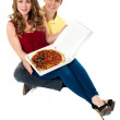 Let's share the yummy pizza — Stock Photo